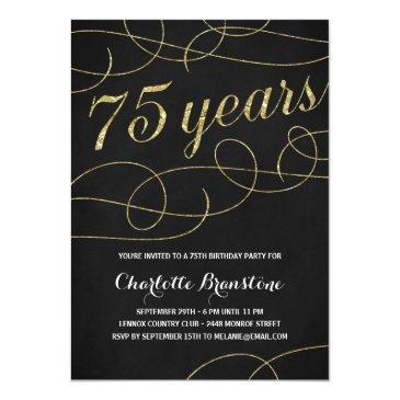 75th birthday invitations birthdayinvitations4u swanky faux gold foil 75th birthday party invitation filmwisefo
