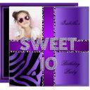 sweet 10 10th birthday zebra cow purple black invitations