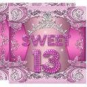 sweet 13 13th birthday party pink silver tiara invitation