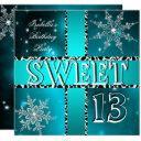 sweet 13 13th birthday teal winter wonderland 2 invitations