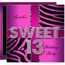 sweet 13 13th birthday zebra cow pink black invitation