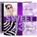 sweet 13 13th birthday zebra cow purple black invitations