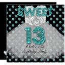 sweet 13th birthday party girls 13 teen teal blue invitation