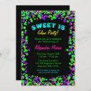 sweet 15 neon glow confetti party invitations