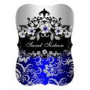 sweet 16 blue silver black floral jewel party invitation