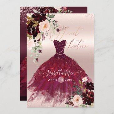 sweet 16 blush burgundy watercolor flowers invitation