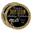 sweet 16 gold glitter mask masquerade birthday invitations