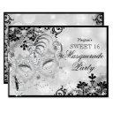 sweet 16 jewel mask & damask silver masquerade invitation