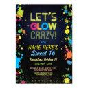 sweet 16 let's glow crazy birthday neon invite