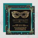 sweet 16 masquerade ball sweet sixteen teal gold invitation