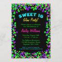sweet 16 neon glow confetti birthday party invitation