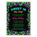 sweet 16 neon glow confetti birthday party invitations