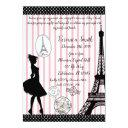 sweet 16 paris passport pink & black invitations