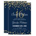 sweet 16 party gold & navy glitter confetti invitations