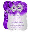 sweet 16 party mask purple silver masquerade invitation