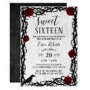 sweet 16 red rose & thorn elegant fairytale rustic invitations