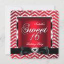 sweet 16 regal red chevron stripe silver black invitation