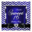 sweet 16 royal blue chevron stripe silver black invitation