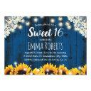 sweet 16 rustic sunflowers lace string lights navy invitation