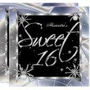 sweet 16 silver spiders 16th birthday party invitation