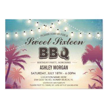 sweet 16 sixteen bbq party summer string lights invitation