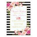 sweet 16 striped floral pink gold invitation