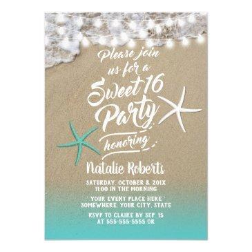 sweet 16 tropical summer beach starfish invitation