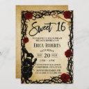 sweet 16 vintage alice in wonderland thorn & rose invitation