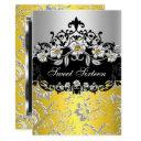 sweet 16 yellow silver black floral jewel party invitation
