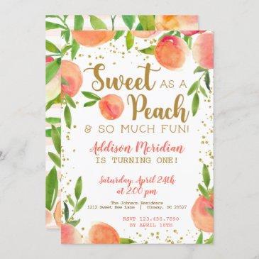 sweet as a peach birthday invitation