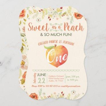 sweet as a peach first birthday invitation