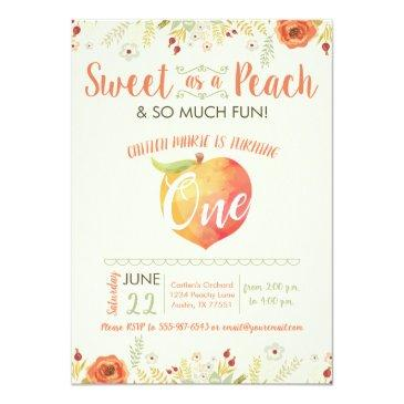 Small Sweet As A Peach First Birthday Invitation Front View