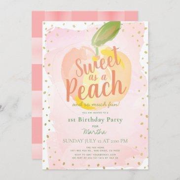 sweet as a peach pink girl 1st birthday invitation
