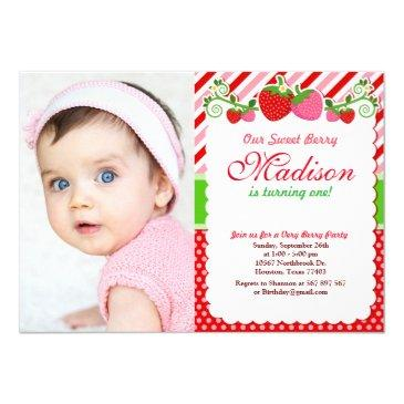 sweet berry strawberry birthday photo invitation