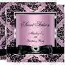 sweet sixteen 16 party pink damask silver black invitation