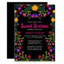 sweet sixteen black mexican fiesta folk art floral invitation