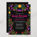 sweet sixteen black mexican fiesta folk art floral invitation