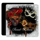 sweet sixteen masquerade, mardi gras invitation