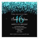 sweet sixteen party falling stars turquoise invitation