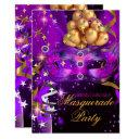 sweet sixteen purple gold black masquerade party invitations