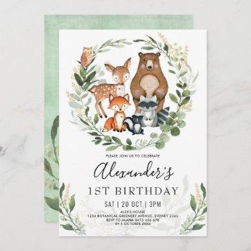 sweet woodland forest animals 1st birthday boy invitation
