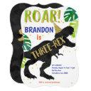 t-rex, boy, third birthday, dinosaur invitation
