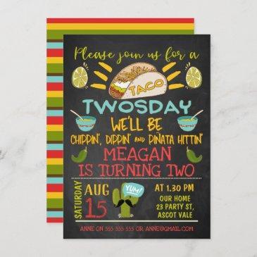 taco twosday chalkboard 2nd birthday invitation