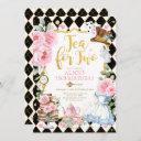 tea for two alice in wonderland flower birthday invitation