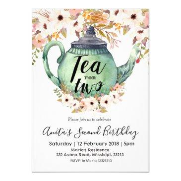 tea for two birthday party invitations