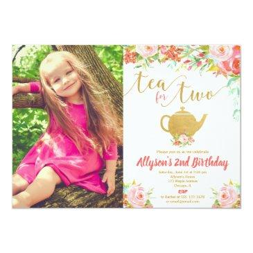 Tea For Two Floral Pink Gold 2nd Birthday Photo Invitation
