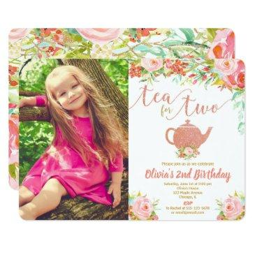 Tea For Two Rose Gold 2nd Birthday Floral Photo Invitation