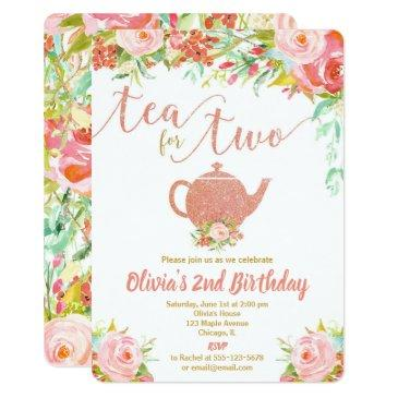 Tea For Two Rose Gold Birthday Invitations Girl