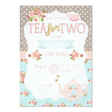 tea for two second birthday invitations