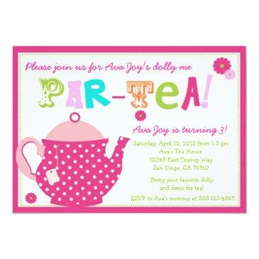 tea party birthday invitations for girls and dolly